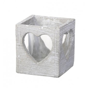 Light Grey Tealight Holder with Heart cut-out