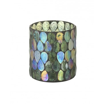 Multi-coloured glass mosaic tealight holder - 100mm high x 90mm wide