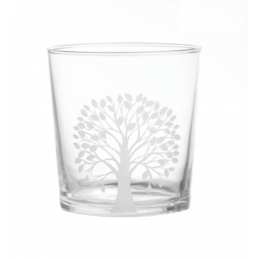 Glass Tumbler with leafy tree pattern
