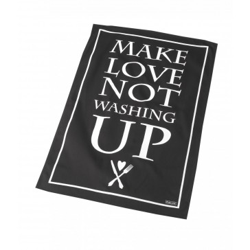 Kitchen tea towel reads ' Make love not washing up'