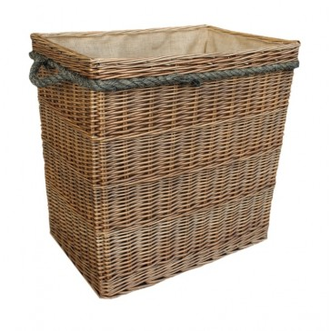 Extra Large Antique Wash Rectangular Log Basket