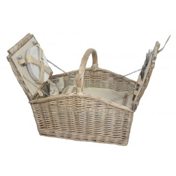Antique wash willow double lidded 4 person picnic hamper