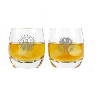 Whiskey Glasses one Half Empty and One Half Full