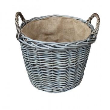 Medium round antique wash willow log basket with lining