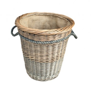 Tall Deluxe Willow Log Basket with Hessian Lining