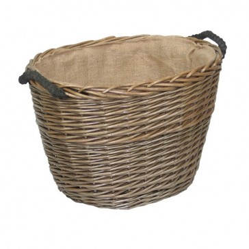 Medium oval log basket with rope handles and hessian lining