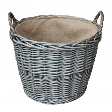 Large round hessian lined willow basket - 420mm diameter