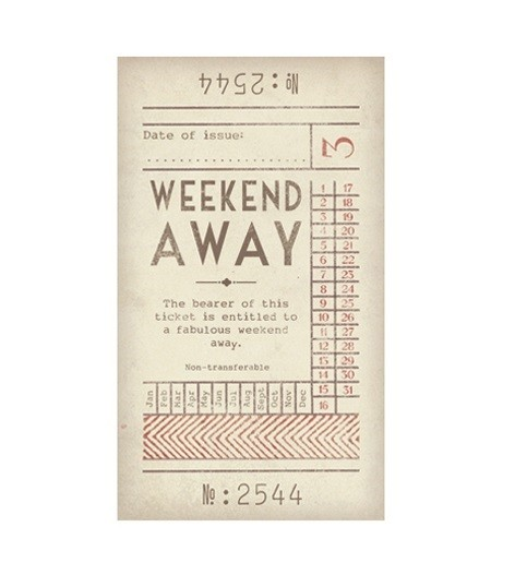 Promise ticket for weekend away iou romantic voucher for Get away for the weekend