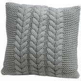 Cable knit blue/grey cushion