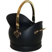 Kenley Medium Coal Bucket - Black & Solid Brass