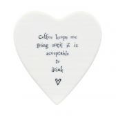Porcelain Heart Coaster - Coffee Keeps Me Going