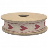 East of India - Long Red Heart Fabric Ribbon