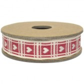 East of India - Cream Heart on Red Gingham Fabric Ribbon