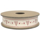 East of India - Red Heart Fabric Ribbon