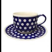 Frogeye Polish Pottery Cup & Saucer