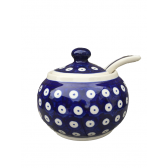 Frogeye Polish Pottery Large Sugar Bowl & Spoon