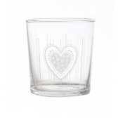 Glass Heart Tumblers - Set of 6