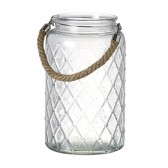 Glass Hurricane Candle Holder with Rope