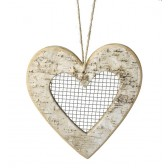 Large Natural Birch Hanging Heart Decoration