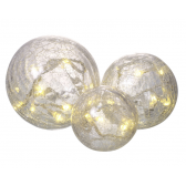 Glass Crackle Ball Lights (Set of 3)
