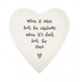 Porcelain Heart Coaster - Look for Rainbows
