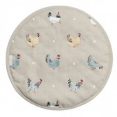 Lay a Little Egg Hen & Chicken Circular Hob Cover by Sophie Allport