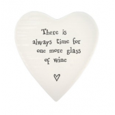Porcelain Heart Coaster - Time for Wine
