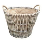 Round Grey Log Basket