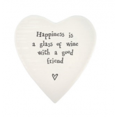 Porcelain Heart Coaster - Wine with a Good Friend