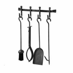 Wall mounted black brushed steel companion set