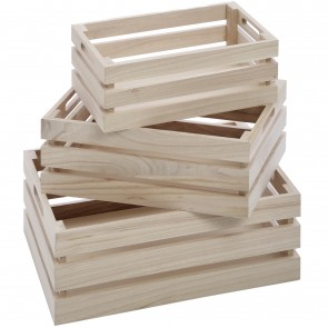 Set of three wooden crates (35cm)