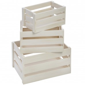 Set of three wooden crates (34cm)