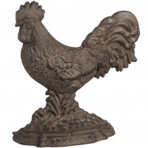 Antique brown large cockerel door stop