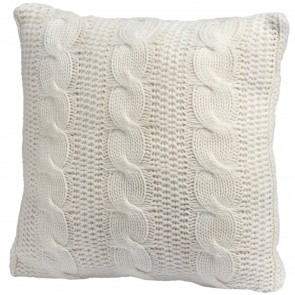 Cable knit cream cushion