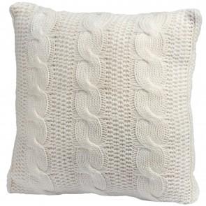 Cable knit cream cushion