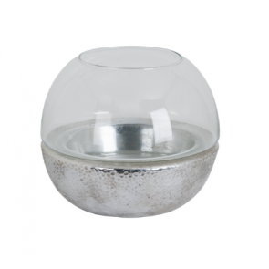 Large Metallic Ceramic  & Glass Spherical Lantern