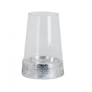 Cylindrical Hurricane Lantern - Metallic Ceramic Base & Glass