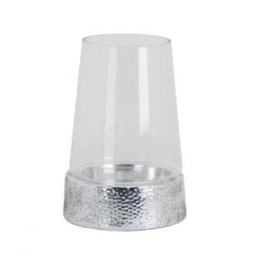 Cylindrical Hurricane Lantern - Metallic Ceramic Base & Glass