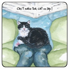 Can't Make Tea Cat On Lap! - Drinks Coaster