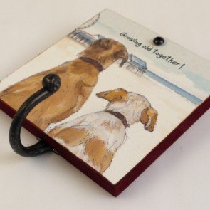 The Little Dog Growing Old Together Metal Hook Plaque