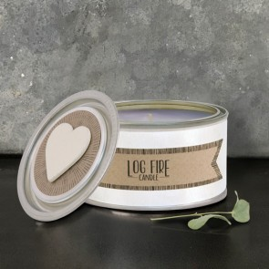 Log Fire Candle Tin by East of India