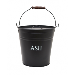Black painted Metal Ash Bucket with Lid