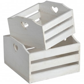 Set of 2 Heart Crates
