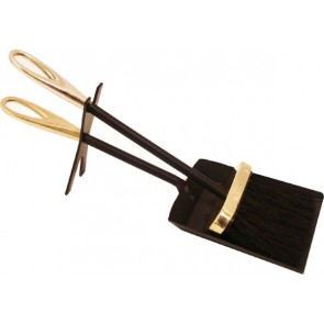 Black & Brass Loop Hearth Tidy Set