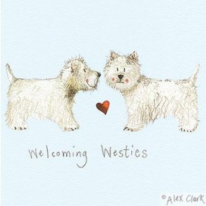 Welcoming Westies Canvas Block print by Alex Clark