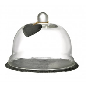 Domed Glass Food Cover & Slate Base