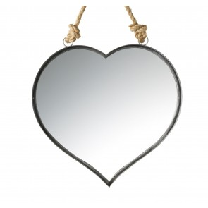 Heart Shaped Wall Mirror on Rope | Gray