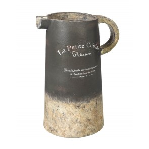 Large Distressed Ceramic Pitcher in Gray