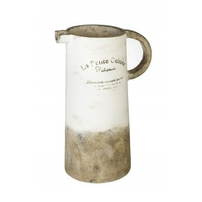 Very Large Distressed Ceramic Pitcher in White | White