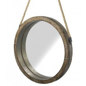 Kara Round Wooden Wall Mirror on Rope